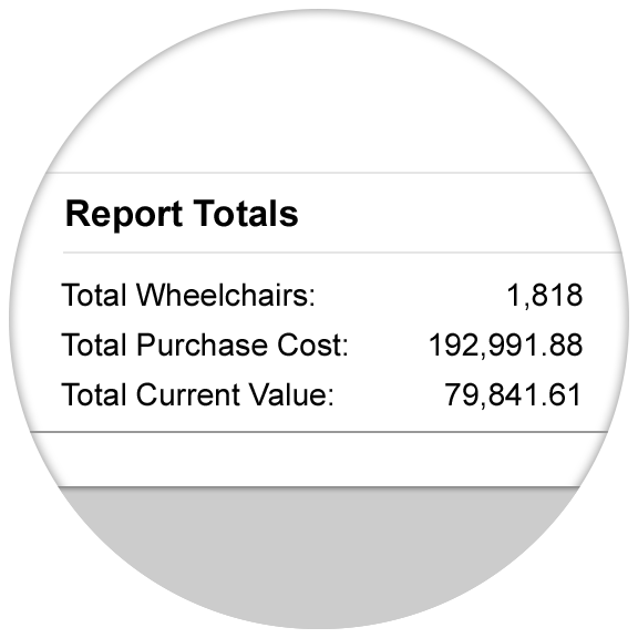 Generate valuation reports for all wheelchair stock in seconds
